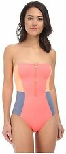 DKNY Color Blocked Bandeau Maillot One-Piece Swimsuit Sz 10 (K2)
