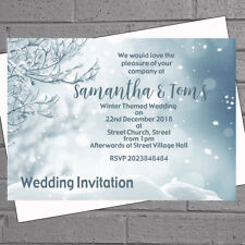 Winter Wedding Invitations Evening Day Silver Snowy Branch x 12 with env H1851