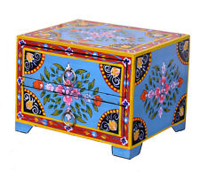 Hand Painted Wooden Jewellery Box with Two Drawers Fair Trade