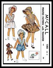 Sunsuit Playsuit ROMPER BONNET Pattern McCall #1382 BABY GIRL Child KIDS Hat sz6
