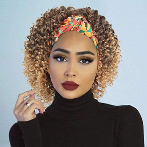 KRSI Kinky Curly Headband Wigs for Women Synthetic Afro Short Ombre Deep Wig 2 1