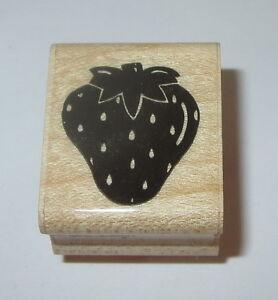 Strawberry Rubber Stamp JRL Design Fruit Strawberries Wood Mounted Summer