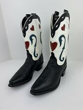 Acme Vintage Western Cowboy Boots Black White W/Red Inlay Hearts Women's Sz 7.5