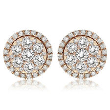 18K WHITE GOLD INVISIBLE CLUSTER FLOWER PAVE DIAMOND HALO EARRINGS