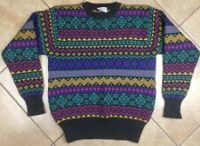 Vintage Meister Knit Geometric Multicolor 100% New Wool Sweater Size Medium