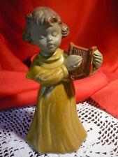 Süsse Keramik Porzellan Tischglocke Mädchen mit Harfe Marke Schirmer 14 cm hoch