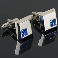 Fancy Luxury Blue Crystal Square Cuff Links Wedding Groom Cufflinks Men's Gift