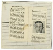 Police Booking Sheet - Walter C. Rogers - Check Fraud - Montgomery, AL - 1934