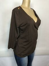Soft Surroundings Brown Cross Over Tee Shirt Womens Size M Blouse 3/4 Sleeve Top