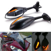Motorcycle LED Turn Signal Racing Side Mirrors For Yamaha YZF R1 R6 FZ1 FZ6 600R