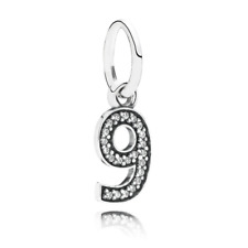 """NEW!! AUTHENTIC PANDORA Number """"9"""" with Clear CZ Pendant -  9112-4"""