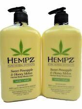 Lot of 2 Hempz Sweet Pineapple And Honey Melon Moisturizer Lotion 17oz Bottles