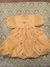 Little Girls Yellow Handmade Crocheted Dress