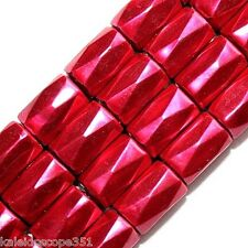MAGNETIC HEMATITE BEADS 18 FACET 6X8MM CYLINDER BEAD FUCHSIA HIGH POWER HP18G