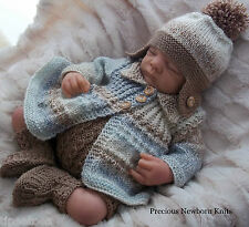 DK Baby Knitting Pattern 38 TO KNIT Baby Boys or Reborn Dolls 'Noah' Outfit