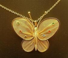 Butterfly Necklace Vintage Goldtone Mesh with Rhinestones