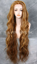 "EXTRA long 32"" Lace Front Wig HEAT SAFE Blonde Mix Wavy JSTA F2014"