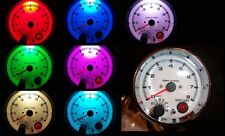"""3-3/4"""" Tachometer Chrome White Face 7 Color LED with programmable Shift Light"""