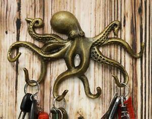"10.25""W Aluminum Nautical Cthulhu Kraken Sea Octopus Monster Wall Hooks Decor"