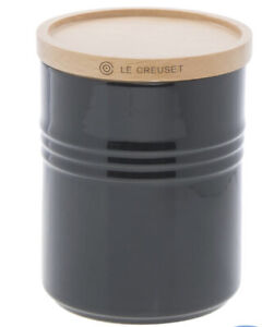 Le Creuset Stoneware Canister With Wood Lid, 22 oz, New Shinny Black