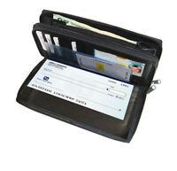 Black Genuine Leather Woman Checkbook Clutch Wallet 2 Zip Organizer
