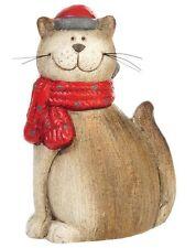 Chat avec écharpe en céramique statuette figurine faïence chaton