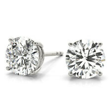 DIAMOND EARRINGS STUD D SI1 1.40 CARAT ROUND SOLITAIRE 14K WHITE GOLD PUSH BACKS