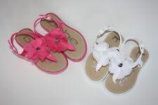 bebe Girls Flower Thong Sandals Summer White Pink Size: 7/8, 9/10