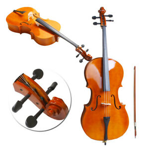4/4 Full Size Natural BassWood Cello Set with Bag+Bow+Bridge+Rosin