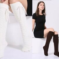 Winter Thigh Cable Knit Leggings Over knee Long Boot Warm High Socks Women's