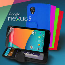 ID Stand Wallet Flip card slot Leather Case Cover for Google Nexus 5 + Screen Gd