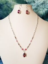 Sparkly Pink Cabochon, Crystal & Rhinestone Chain Necklace Set.   A~K~N Design