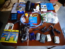 Lot of Aquarium air pumps, heaters, filters, food, chemicals, net, etc. Nice