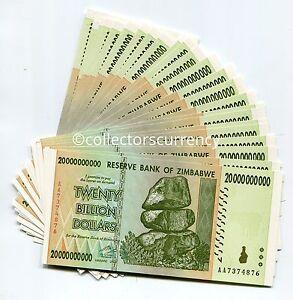 Zimbabwe 20 Billion AA 2008 Currency UNC Note 1/2 Bundle X 50 Banknotes Money