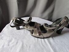 chaussures escarpins couleur pourpre cuir bronze argenté 37