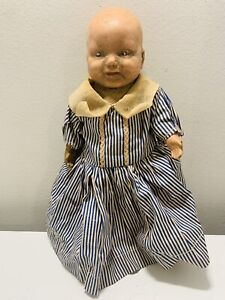 "Antique? Composition? Unmarked Doll Cloth body 10.5"" Tall"