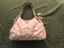 COACH Madison OP ART Shantung Maggie Bag in Pink and White #17020.