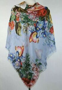 Gucci 544616 Light Blue Josephinee Wool Blooms Lightweight Scarf Wrap 120x120 Cm