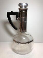 Vintage Inland XXX Glass 8 Cup Coffee Pot Carafe Cork Lid Hand Blown VGC