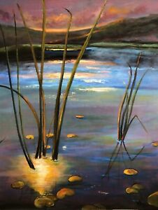 "original art for sale by artist ""Through The Reeds"", Gouache On Linen, By KFox"