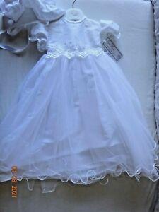 Baby Girls Christening Long Gown Dress Bonnet Hat Cream/Ivory, White 3-6, 6-12 m