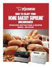 Zojirushi Bread Maker Machine Directions Instruction Manual w Recipes BB-CEC20 photo