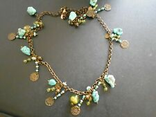"Vtg.Treska Necklace 9 Natural Blue Turquoise Stones&Other Beads 36"" Wear,Crafts,"