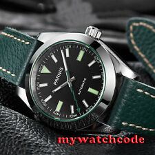 40mm Parnis black dial leather strap Sapphire glass automatic mens watch P517