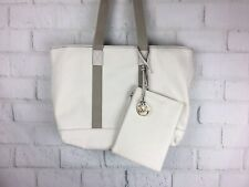 NWT Michael Kors canvas Tote Ivory Extra Large Beach Bag Shoulder Flaw