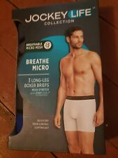 Men's Jockey Life Collection Long Leg Boxer Briefs 3 Pack Small