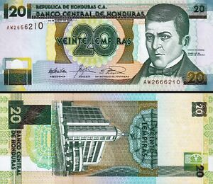 Honduras 20  Lempiras 2003, UNC, P-87b, Prefix AW