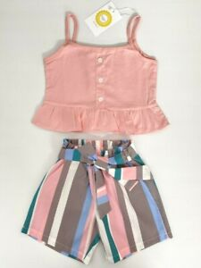 size 3 years new girls shorts outfit pink top & multicolour stripe shorts set
