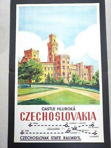 Original Castle Hluboka Czechoslovakia Travel Poster By Teschler Kloubek 1930s