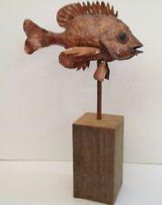 Sean Burgess Copper Art Studio Bluegill Sculpture on Swivel Stand in Wood Block